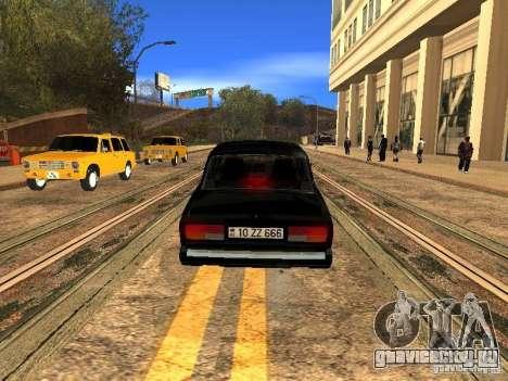 ВАЗ 2107 ZZ Style для GTA San Andreas вид сзади слева