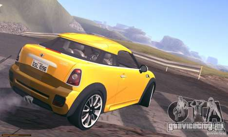 Mini Concept Coupe 2010 для GTA San Andreas вид изнутри