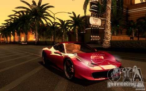 Ferrari 458 Italia Final для GTA San Andreas вид изнутри