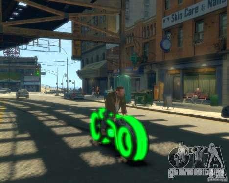 Мотоцикл из Трон (зеленый неон) для GTA 4 вид справа