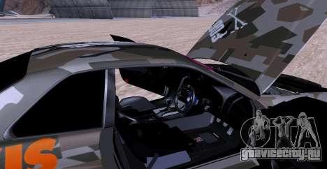 Nissan Skyline GTR34 MAXXIS для GTA San Andreas вид сзади
