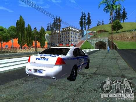 Chevrolet Impala NYPD для GTA San Andreas вид сзади слева