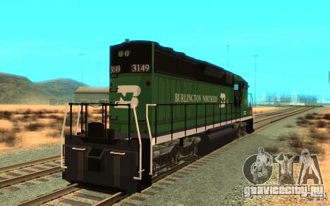 SD 40 Union Pacific Burlington Northern 3149 для GTA San Andreas вид сзади слева