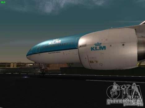 Boeing 777-200 KLM Royal Dutch Airlines для GTA San Andreas вид изнутри
