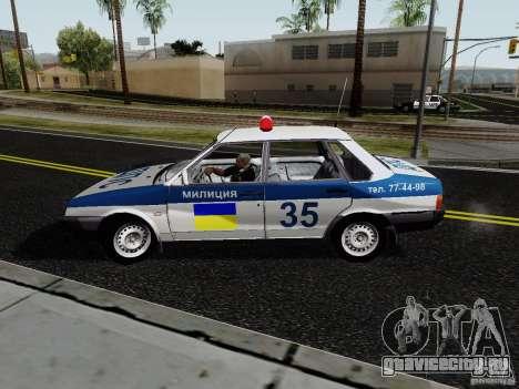 ВАЗ 21099 Полиция для GTA San Andreas вид сзади слева