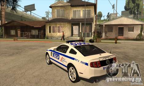 Shelby GT500 2010 Police для GTA San Andreas вид сзади слева