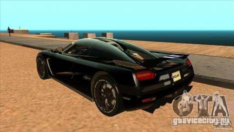 Koenigsegg Agera 2010 для GTA San Andreas вид сзади слева