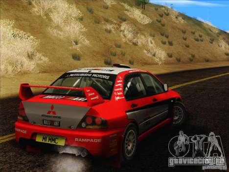 Mitsubishi Lancer Evolution IX Rally для GTA San Andreas вид сзади
