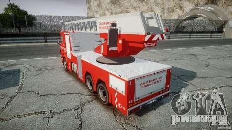 Scania Fire Ladder v1.1 Emerglights blue-red ELS для GTA 4 вид сзади
