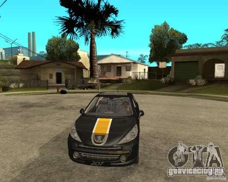 PEUGEOT 207 Griffe LANCARSPORT для GTA San Andreas вид сзади