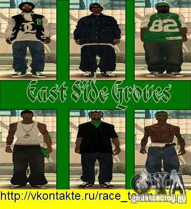Замена всех скинов Grove Street Families для GTA San Andreas восьмой скриншот