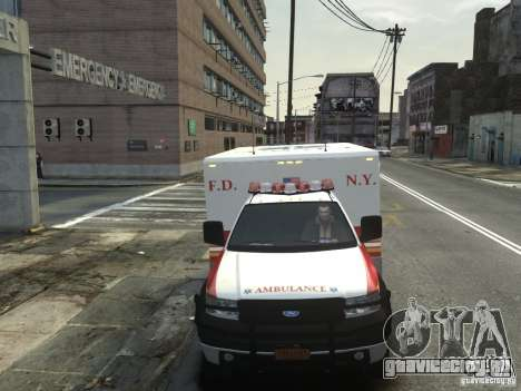 Ford F-350 Ambulance FDNY для GTA 4 вид изнутри