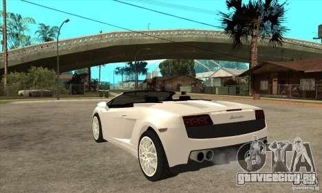Lamborghini Gallardo Spyder v2 для GTA San Andreas вид сзади слева