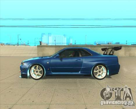 Nissan Skyline GT-R R34 M-Spec Nur для GTA San Andreas вид слева