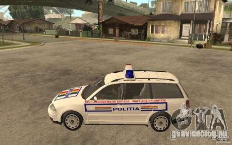 VW Passat B5 Variant Politia Romana для GTA San Andreas вид слева
