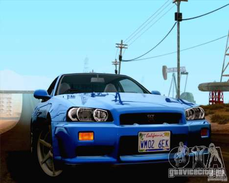 Nissan Skyline R34 для GTA San Andreas вид сзади слева