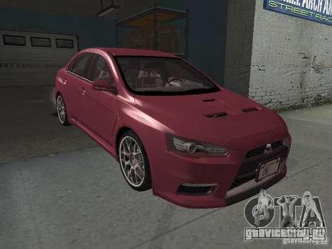 Mitsubishi Evolution X Stock-Tunable для GTA San Andreas вид снизу