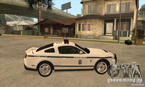 Shelby GT500 2010 Police для GTA San Andreas вид сзади