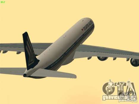 Airbus A340-600 Singapore Airlines для GTA San Andreas вид сверху