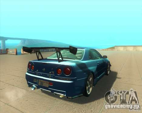 Nissan Skyline GT-R R34 M-Spec Nur для GTA San Andreas вид справа