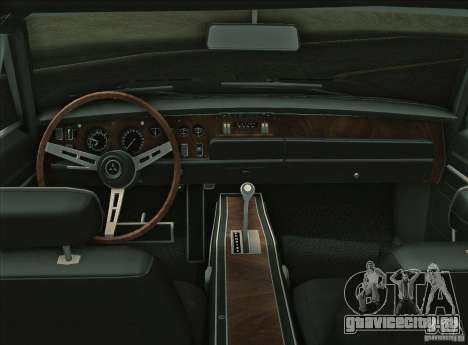 Dodge Charger RT 1969 для GTA Vice City вид изнутри