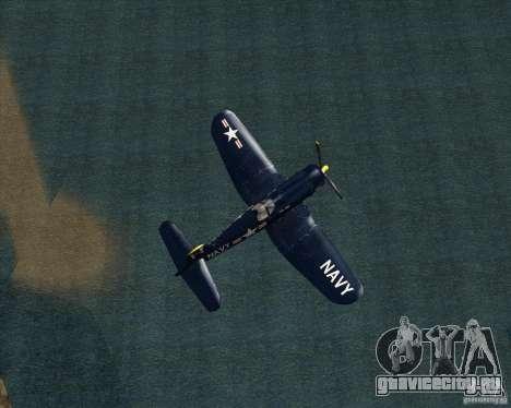 Aereo Corsair F4U1D для GTA San Andreas вид сзади слева