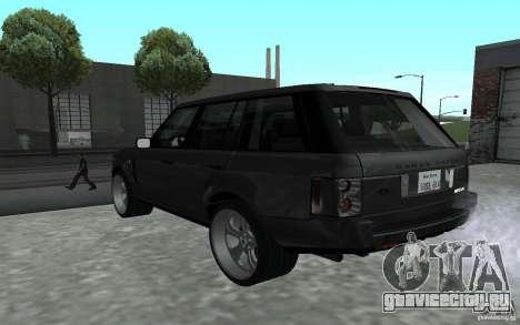 Land Rover Supercharged для GTA San Andreas вид сзади слева