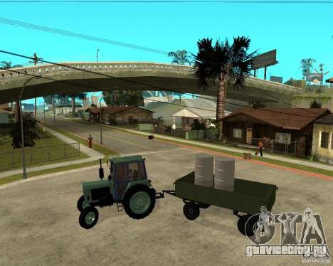Трактор Беларусь 80.1 и прицеп для GTA San Andreas вид изнутри