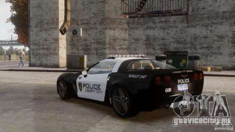 Chevrolet Corvette LCPD Pursuit Unit для GTA 4 вид сбоку