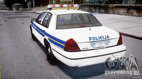 Ford Crown Victoria Croatian Police Unit для GTA 4 вид справа