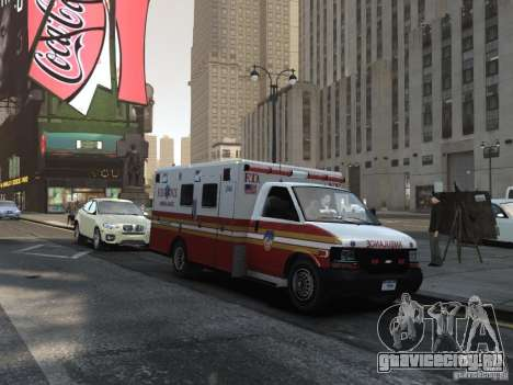 Chevrolet Ambulance FDNY v1.3 для GTA 4 вид сзади