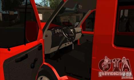 ГАЗель 2705 Грузо Пассажирская для GTA San Andreas вид изнутри