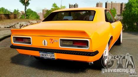 Chevrolet Camaro Z28 1969 для GTA 4 вид сзади слева