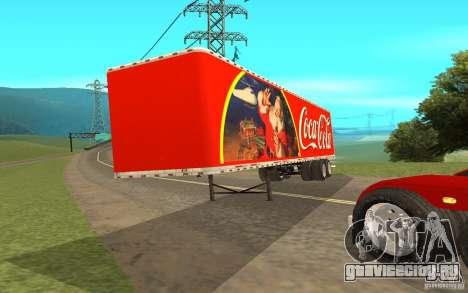 Полуприцеп к Peterbilt 379 Custom Coca Cola для GTA San Andreas вид сзади слева