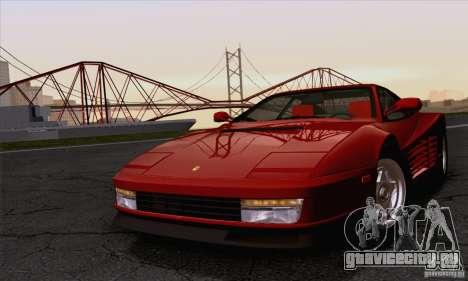 Ferrari Testarossa 1986 для GTA San Andreas вид сзади