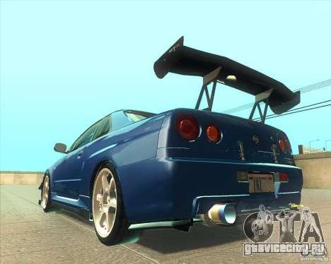 Nissan Skyline GT-R R34 M-Spec Nur для GTA San Andreas вид сбоку