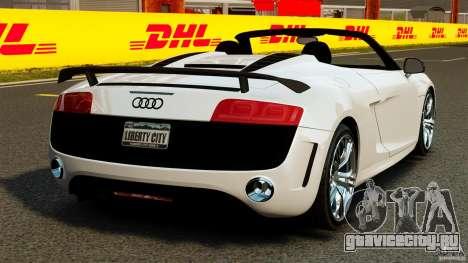 Audi R8 GT Spyder 2012 для GTA 4 вид сзади слева