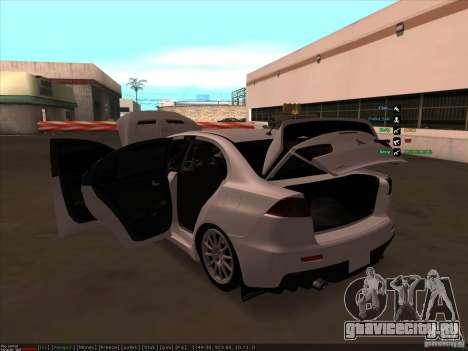 Mitsubishi Lancer Evolution X для GTA San Andreas вид снизу
