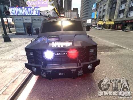 Lenco BearCat NYPD ESU V.1 для GTA 4 вид изнутри