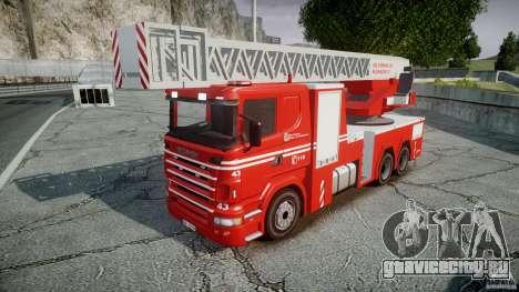 Scania Fire Ladder v1.1 Emerglights blue-red ELS для GTA 4 вид сзади слева