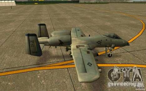 A-10 Warthog для GTA San Andreas вид сзади слева