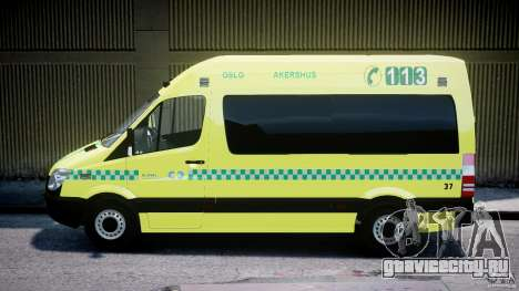 Mercedes-Benz Sprinter PK731 Ambulance [ELS] для GTA 4 вид слева