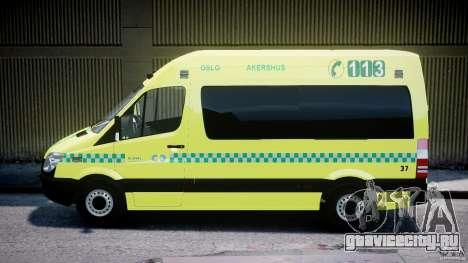 Mercedes-Benz Sprinter PK731 Ambulance [ELS] для GTA 4 вид слева