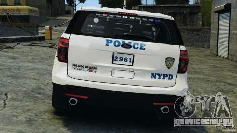 Ford Explorer NYPD ESU 2013 [ELS] для GTA 4 вид снизу