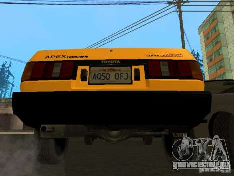 Toyota Corolla AE85 Levin GT-Apex для GTA San Andreas вид снизу