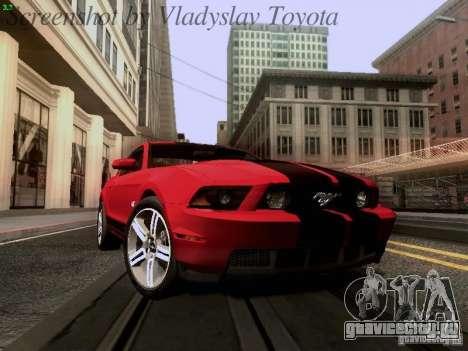 Ford Mustang GT 2011 для GTA San Andreas вид изнутри