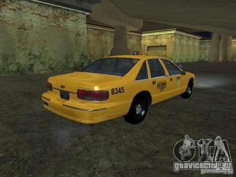 Chevrolet Caprice 1993 Taxi для GTA San Andreas вид сзади слева