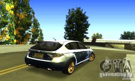 Subaru Impresa WRX STI 2008 для GTA San Andreas вид сзади слева