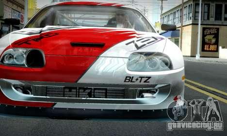 Toyota Supra JZA80 RZ Dragster для GTA San Andreas вид сзади