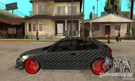 Honda Civic Carbon Latvian Skin для GTA San Andreas вид сзади слева